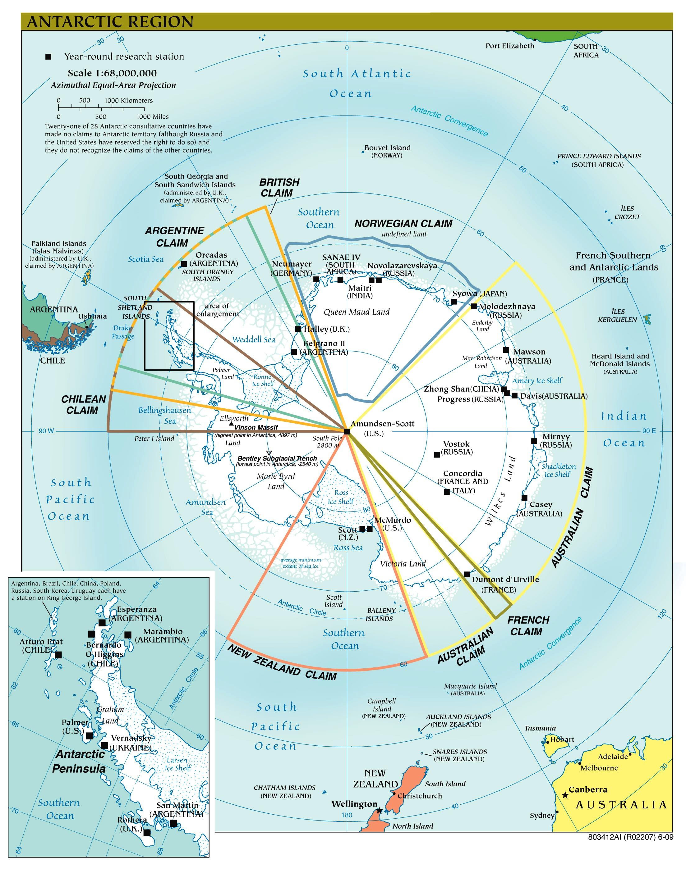 Antarktis Landkarte