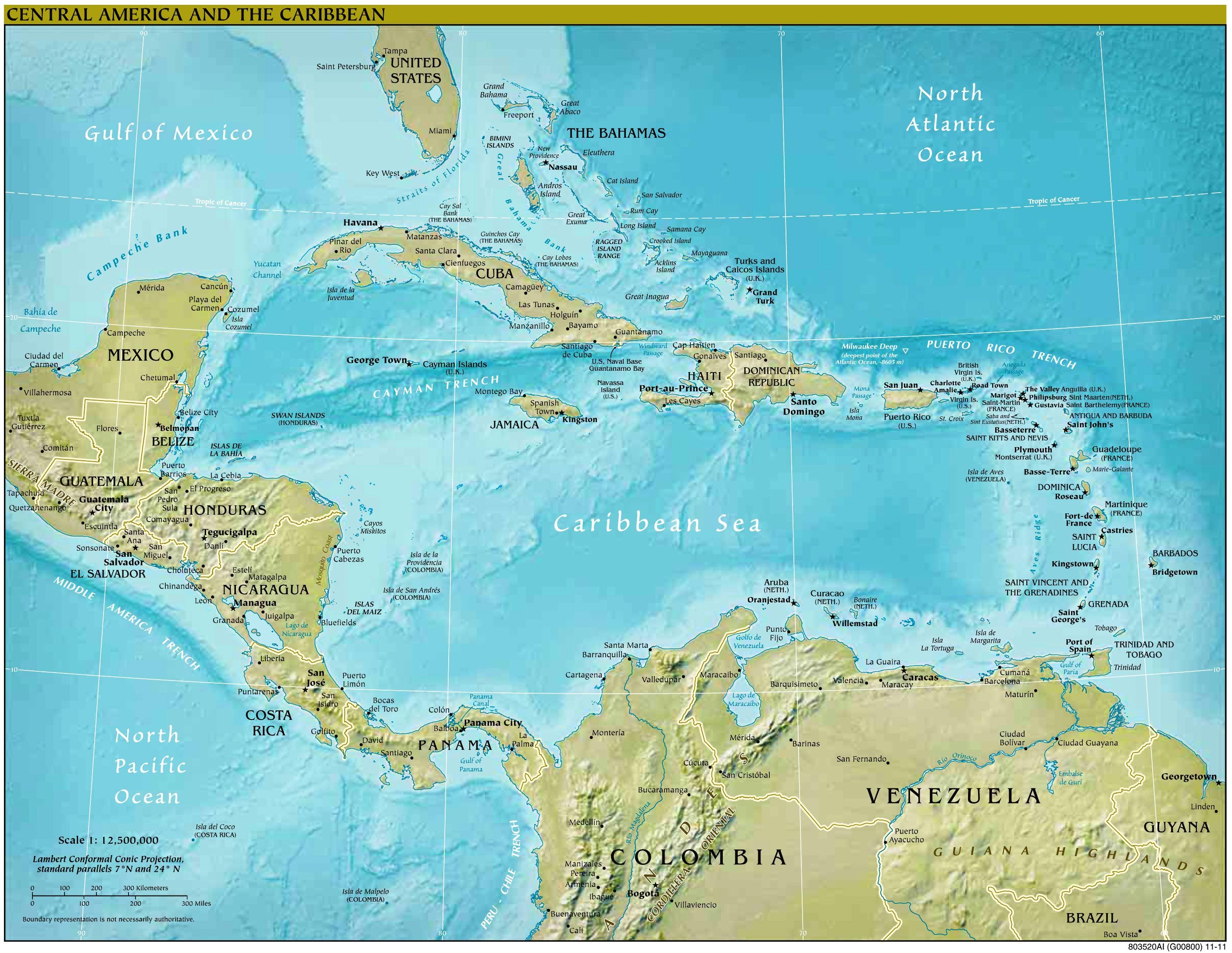 Physische karte von mittelamerika und der karibik 2809 x 2172 pixel
