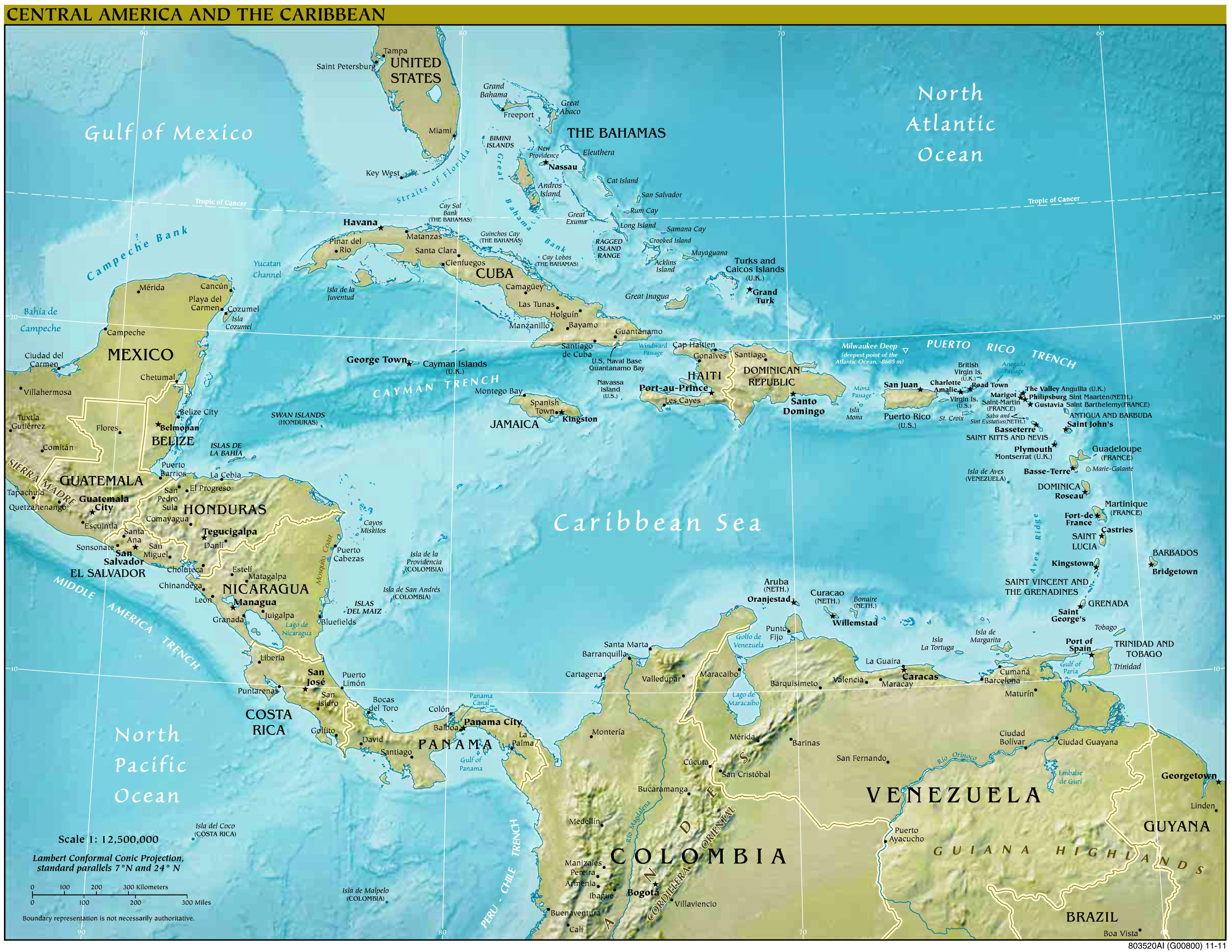 Physische Karte Lateinamerika.Formato Pdf Weltkarte Karibik