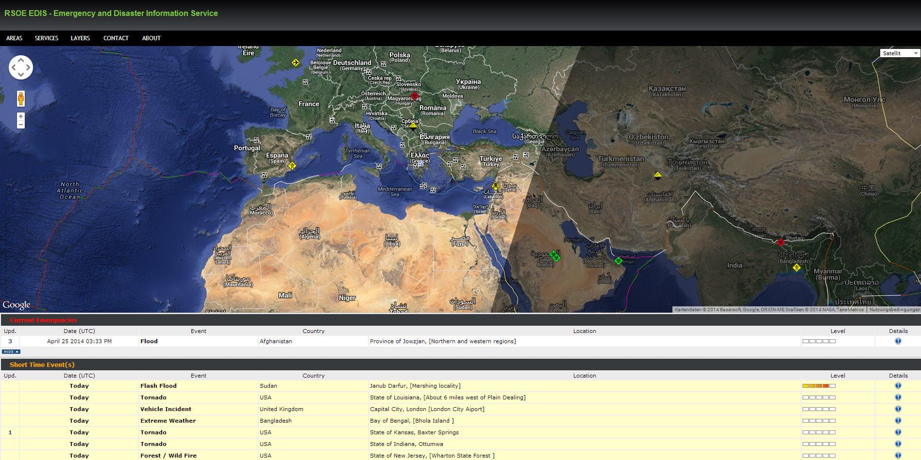 rsoe edis disaster and emergency alertmap – aktuelle ereignisse in