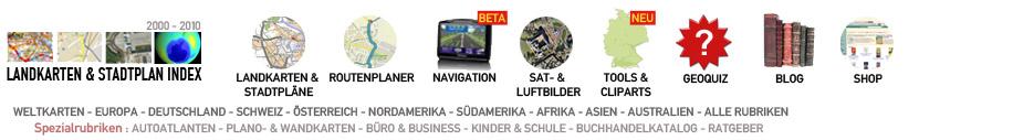 Menuleiste: Weltkarten, Europa, Deutschland, Schweiz, Österreich, Nordamerika, Südamerika, Afrika, Asien, Australien