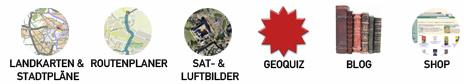 Rubriken: Landkarten, Stadtpl ne, Routenplaner, Sat und Luftbilder, Geoquiz, Blog, Shop